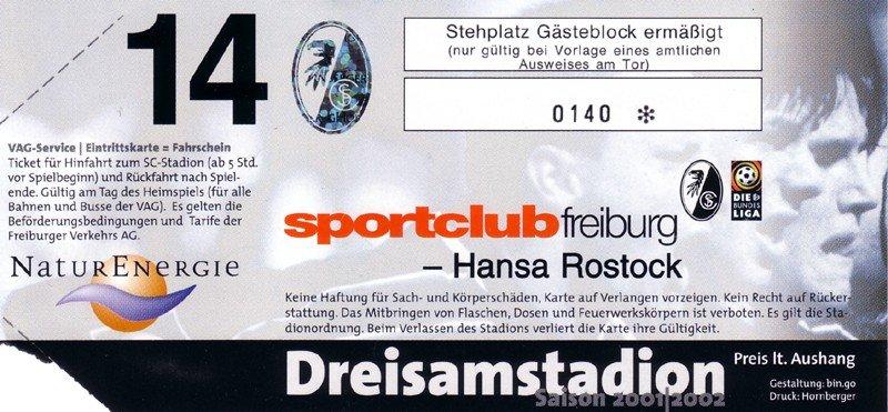 Sc Freiburg Karten.Sc Freiburg F C Hansa Rostock Samstag 8 September 2001